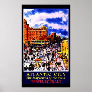 Vintage Atlantic City Train Travel Poster