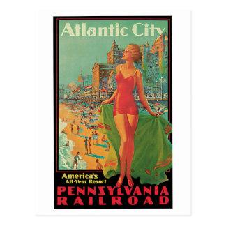 Vintage Atlantic City Travel Ad Postcard