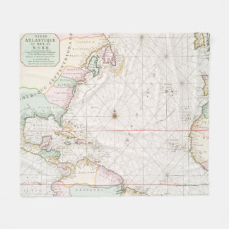 Vintage Atlantic Ocean & North America Map (1700s) Fleece Blanket