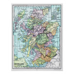 Vintage Atlas Map - Scotland Poster