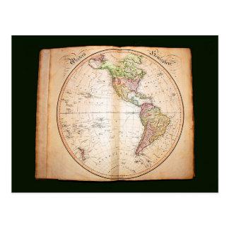 Vintage atlas showing western hemisphere postcard