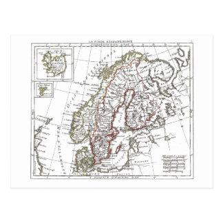 Vintage Atlas Sweden Denmark Scandinavia Map Postcard