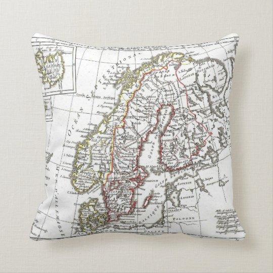 Vintage Atlas Sweden Denmark Scandinavia Map Throw Pillow