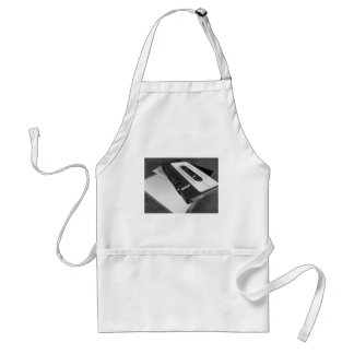 Vintage audio cassette tape on wooden table standard apron
