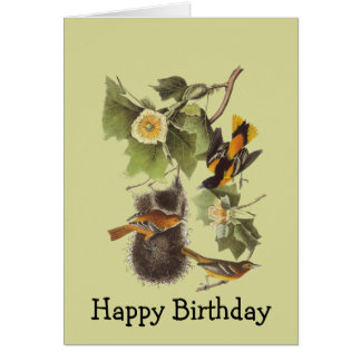 Vintage Audubon Birds Oriole Birthday Card