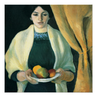 Vintage August Macke Portrait With Apples Poster