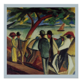 Vintage August Macke Walkers At The Lake Poster