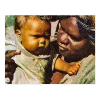 Vintage Australia, Australia,  Indigenous family Postcard