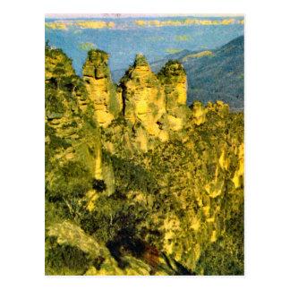 Vintage Australia, Australia, Three sisters rocks, Postcard