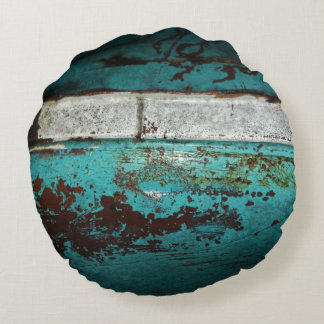 Vintage auto 50's teal rusted Close up Round Pillow