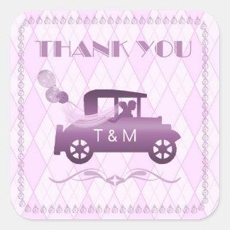 Vintage Auto Orchid Wedding ID171 Square Sticker