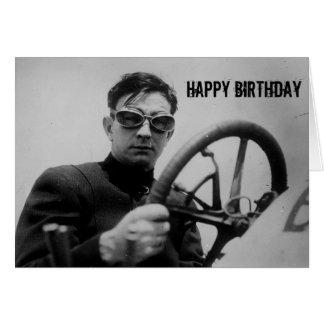 Vintage Auto Racing Guy Birthday Card