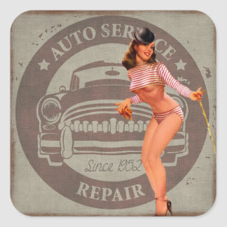 Vintage Auto Repair Retro Lady Sticker