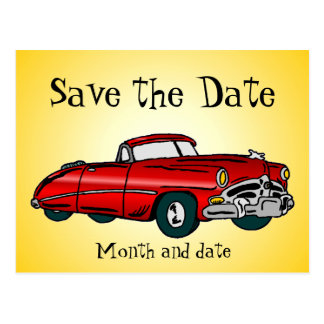 Vintage Auto Save the Date Postcard