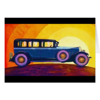 Vintage Automobile Rainbow Sunset Greeting Cards