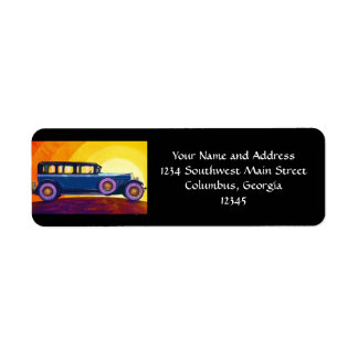 Vintage Automobile Rainbow Sunset Custom Return Address Labels