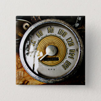 Vintage automobile speed gauge 2 inch square button