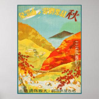 Vintage Autumn at Yunoyama Onsen Japan Travel Poster