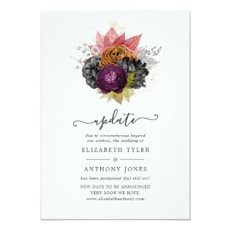 Vintage Autumn Floral Bouquet Wedding Update Invitation