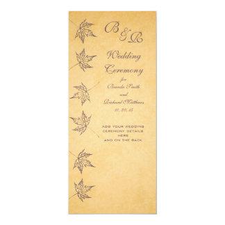 """VINTAGE AUTUMN LEAVES WEDDING PROGRAM 4"""" X 9.25"""" INVITATION CARD"""