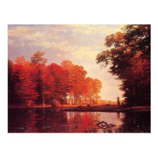 Vintage Autumn Pond Painting Postcard
