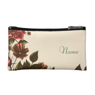 Vintage Autumn Rose Personalized Cosmetic Bag