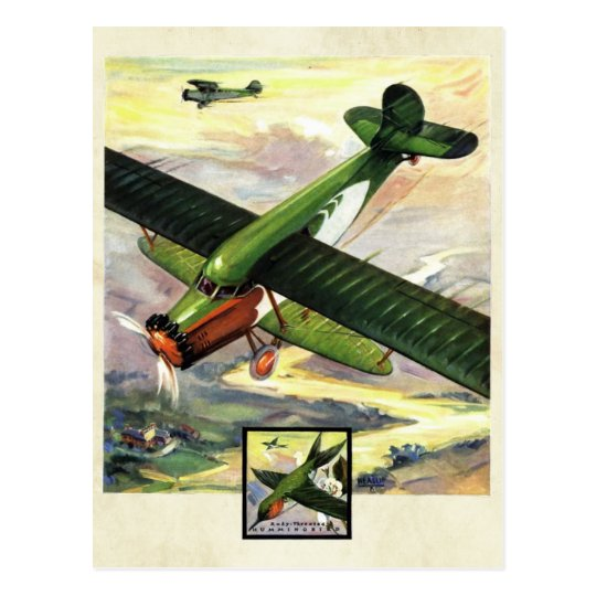 Vintage Aviation Airplane Colour Art Postcard