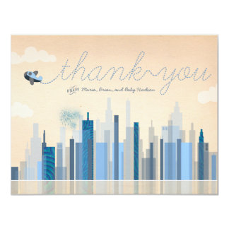 Vintage Aviation Baby Shower Thank You Cards