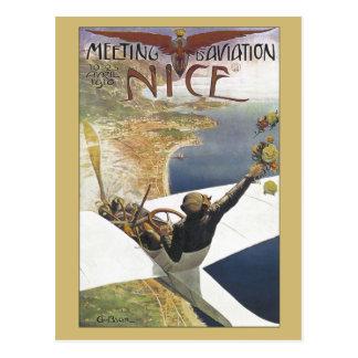 Vintage Aviation Meeting Nice France ad Postcard
