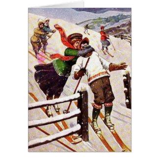 Vintage - Awkward Snow Skiing Couple, Card