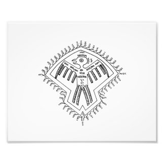Vintage aztec style bird jagged drawing.png photograph