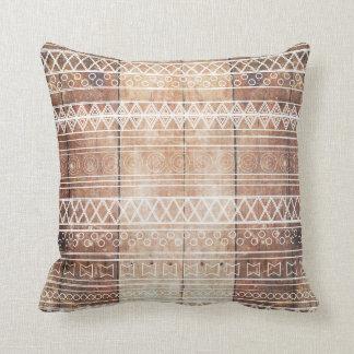 Vintage Aztec Tribal Wood Throw Pillow