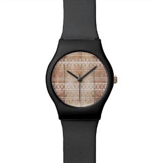 Vintage Aztec Tribal Wood Wrist Watch
