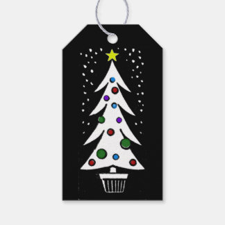 Vintage B/W Christmas Tree Coordinating Gift Tags