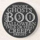 Vintage B&W Halloween Typography Sandstone Coaster