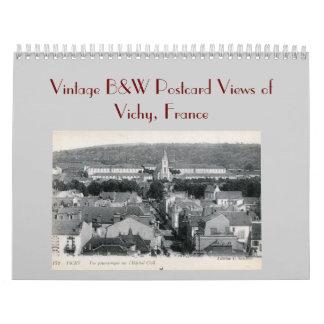 Vintage B&W Postcard Views of Vichy France Wall Calendars