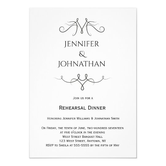 Vintage b&w rehearsal dinner invitations