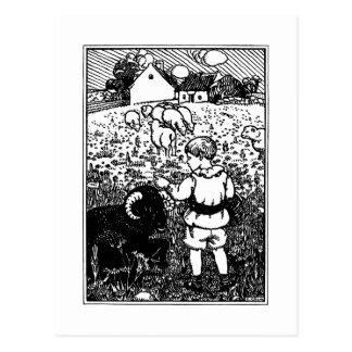 Vintage Baa, Baa, Black Sheep Rhyme Postcard