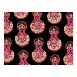 Vintage Babushka Nesting Dolls Matryoshka Postcard