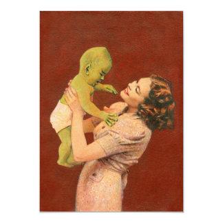 Vintage Baby Alien Invite 13 Cm X 18 Cm Invitation Card