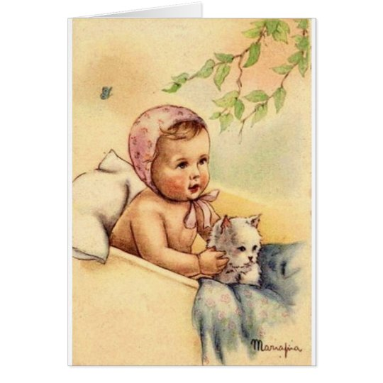 Vintage Baby And Kitten Greeting Card