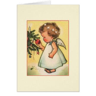 Vintage Baby Angel Christmas Greeting Card