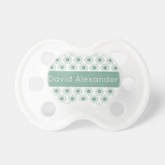 Vintage Baby Blue Sunbursts on White Personalized Pacifier