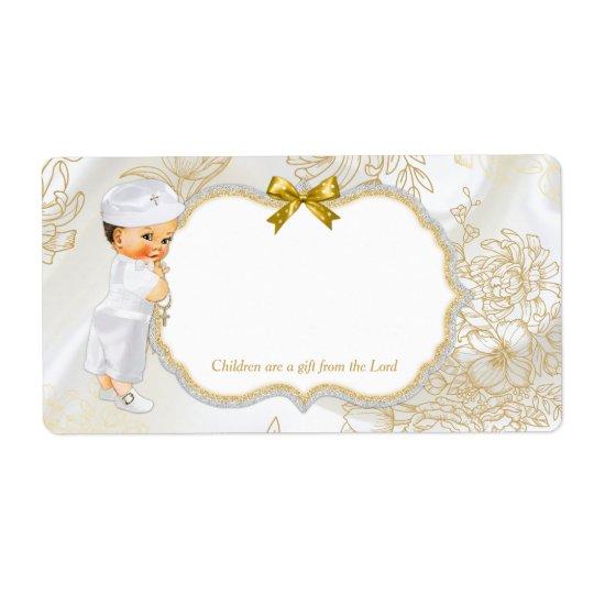 Vintage Baby Boy Baptism Gold White Shipping Label