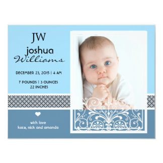 Vintage baby boy photo birth announcement
