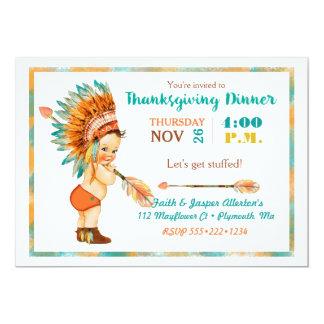 Vintage Baby Boy Tribal Headdress Thanksgiving Card