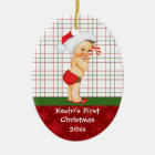 Vintage Baby Boy's First Christmas Ornament