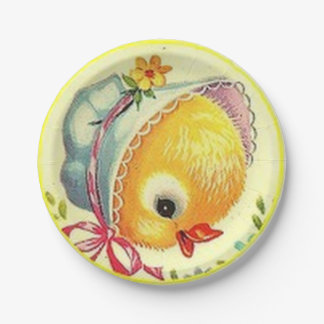 Vintage Baby Chick Easter Paper Plates 7 Inch Paper Plate