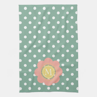Vintage Baby Flower Monogram on Polka Dots Kitchen Towel