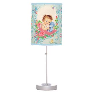 Vintage Baby Girl and Teddy Bear Nursery Lamp